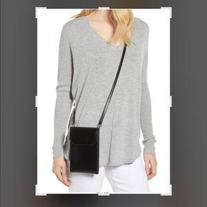 Nordstrom Leather Phone Crossbody Bag Patent Black